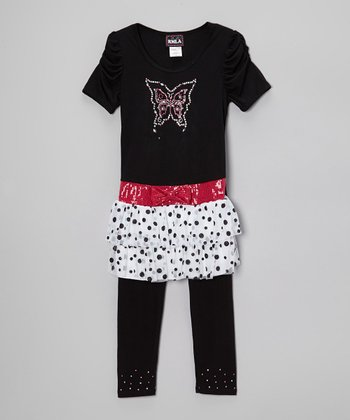 Black & White Rhinestone Butterfly Skirted Top & Leggings - Girls
