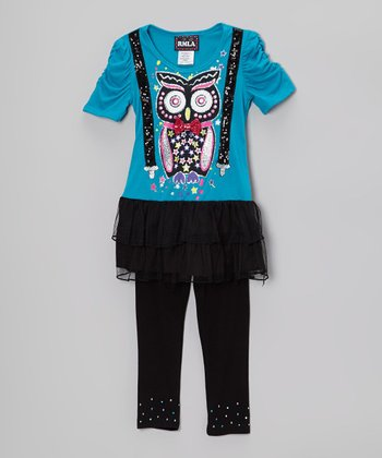 Teal & Black Owl Skirted Top & Leggings - Girls