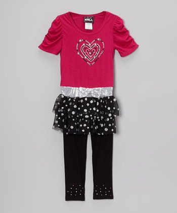 Fuchsia & Black Rhinestone Heart Skirted Top & Leggings - Girls