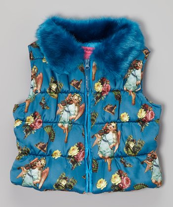 Teal Angel Cake Puffer Vest - Toddler & Girls