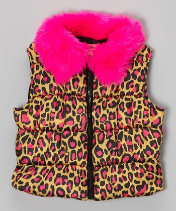 Pink Cat's Cradle Puffer Vest - Toddler & Girls