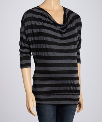 Black & Gray Stripe Maternity Cowl Neck Top