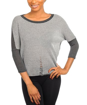 Black & Gray Asymmetrical Stripe Dolman Top - Women