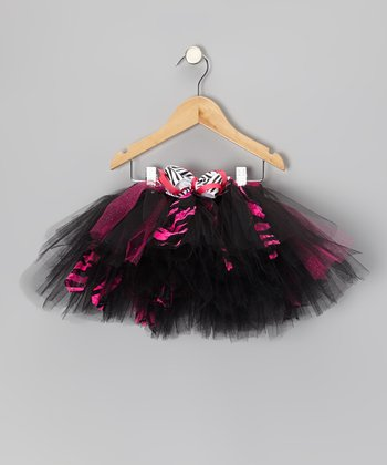 Black & Hot Pink Zebra Betty Tutu - Toddler & Girls