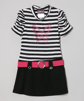 Black & White Stripe Butterfly Belted Dress - Girls