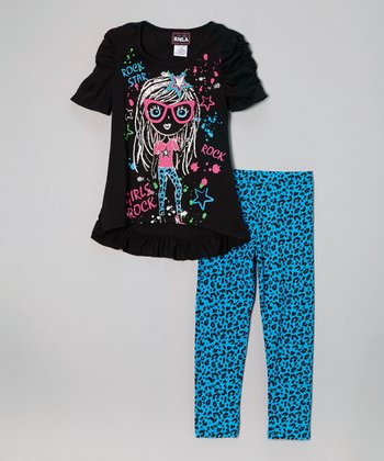 Black 'Rock' Top & Turquoise Leopard Leggings - Girls