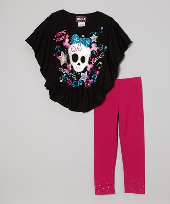 Black Skull Cape-Sleeve Top & Pink Leggings - Toddler & Girls