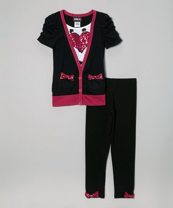 Black Sequin Bow Cardigan Top & Leggings - Girls