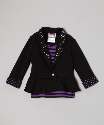 Purple & Black Stripe Layered Blazer Top - Girls