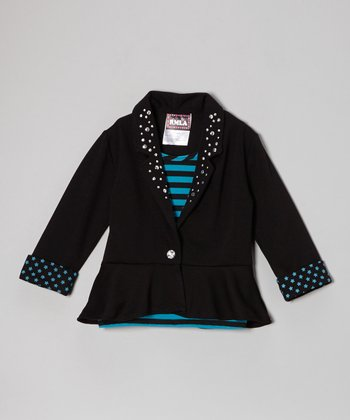 Teal & Black Stripe Layered Blazer Top - Girls