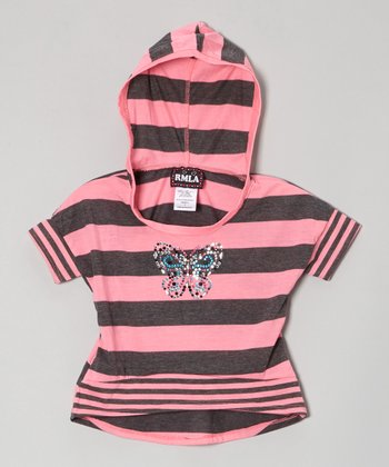 Pink & Charcoal Stripe Rhinestone Hooded Hi-Low Top - Girls