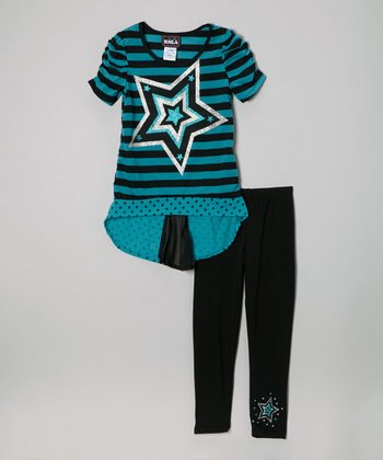 Jade & Black Stripe Star Hi-Low Top & Leggings - Girls