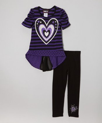 Purple & Black Stripe Heart Hi-Low Top & Leggings - Girls