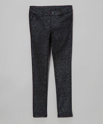Pink Hearts Black & Silver Metallic Leopard Skinny Pants