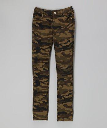 Pink Hearts Military Olive Camo Skinny Pants