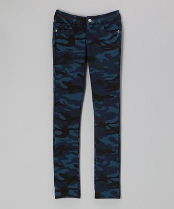 Pink Hearts Blue Camo Skinny Pants