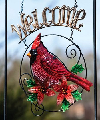 Poinsettia Cardinal 'Welcome' Sign