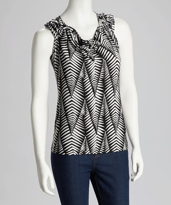 Black & White Stripe Leaf Sleeveless Top - Women