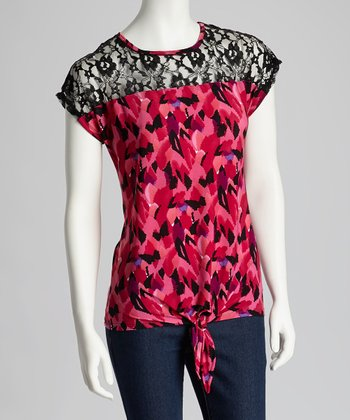 Pink & Black Lace Abstract Tie-Front Top - Women
