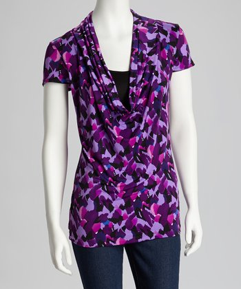 Purple & Black Layered Drape Neck Top - Women