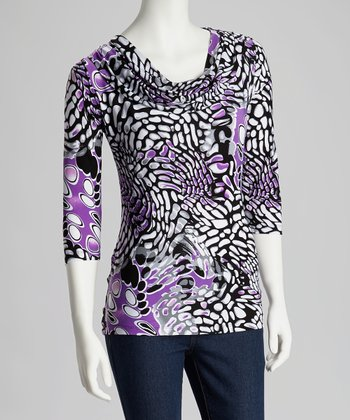 Purple & Black Abstract Drape Neck Top - Women