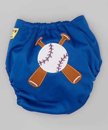 Blue Baseball Pocket Diaper