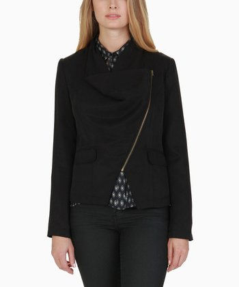 Black Asymmetrical Draped Jacket