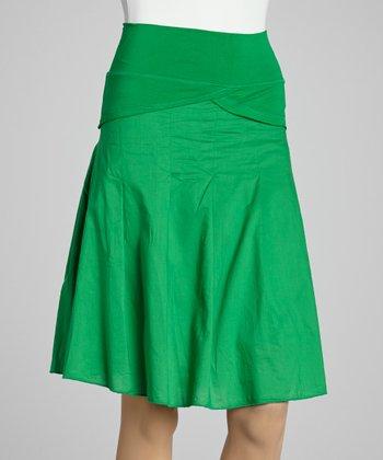 Kelly Green Ruffle A-Line Skirt - Women