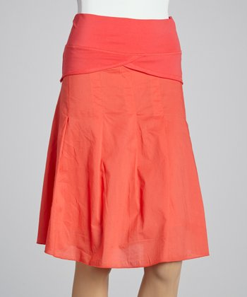 Coral Ruffle A-Line Skirt - Women