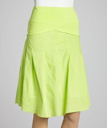 Lime Ruffle A-Line Skirt - Women