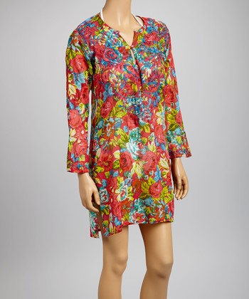 Pink & Green Rose Tunic - Women