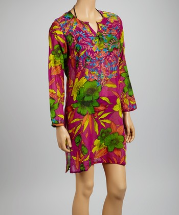 Purple & Blue Banana Flower Tunic - Women