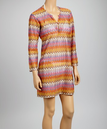 Orange & Lilac Zigzag Dress