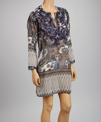 Gray & Blue Paisley Tunic - Women