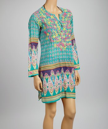 Teal & Pink Embroidered Bollywood Tunic - Women