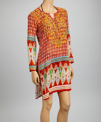 Red & Orange Embroidered Bollywood Tunic - Women