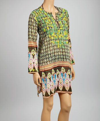 Green & Yellow Embroidered Bollywood Tunic - Women