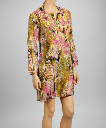 Yellow & Pink Embroidered Peacock Tunic