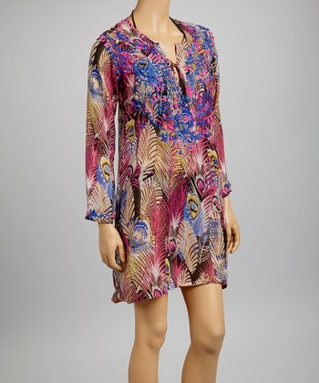 Pink & Purple Embroidered Peacock Feather Tunic - Women