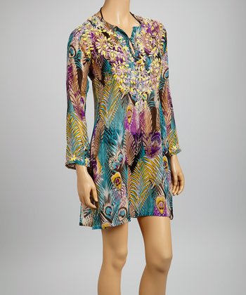 Teal & Yellow Embroidered Peacock Feather Tunic - Women