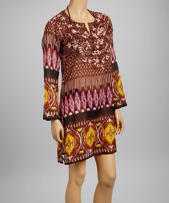 Brown Ikat Tunic - Women