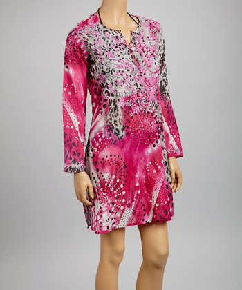 Fuchsia Embroidered Polka Dot Tunic - Women