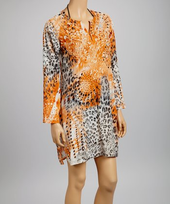 Orange & Black Embroidered Animal Tunic - Women