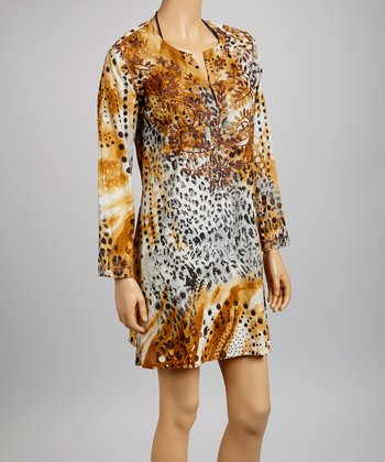 Camel & White Embroidered Animal Tunic - Women
