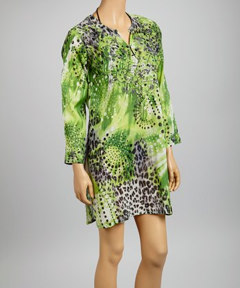 Green & Gray Embroidered Animal Tunic - Women