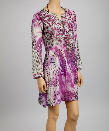 Purple & Black Embroidered Animal Tunic - Women