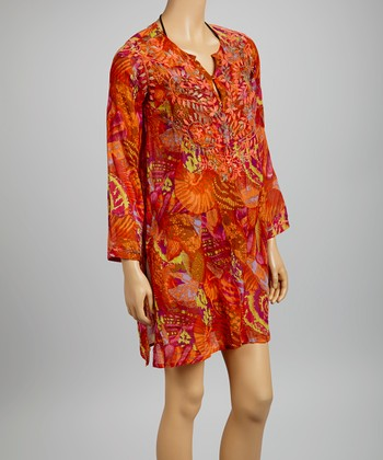 Orange & Fuchsia Embroidered Seashell Tunic - Women