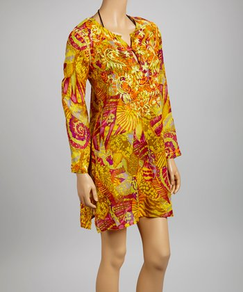 Yellow & Green Embroidered Seashell Tunic - Women