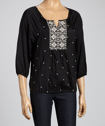 Black Embroidered Dolman Top - Women