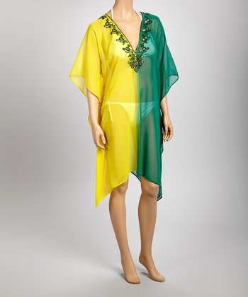Yellow & Green Sheer Gem Embroidered Tunic